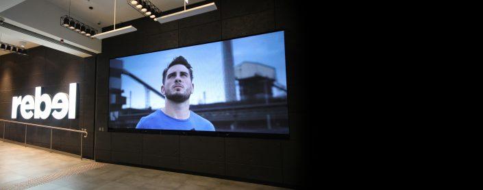 Rebel Sports Indoor Billboard LED Screen Digital Advertising
