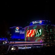 Twin Towns Curved LED Screen Building Facade Custom Digital Signage Solutions